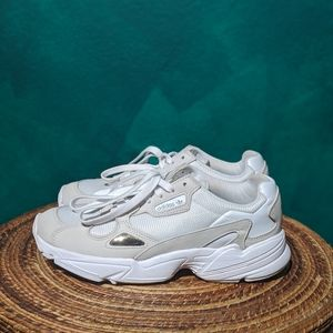 Adidas original Falcon shoes. White/taupe